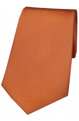 Soprano Terracotta Plain Satin Silk Tie