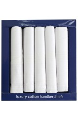 Quality Five Pack White Cotton Handkerchiefs