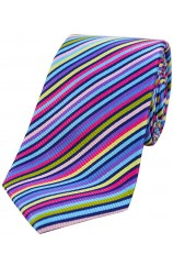 Bright Multi Coloured Thin Striped Luxury Silk Tie