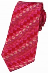 Fuchsia with shades of Pink Box Pattern Luxury Silk Tie