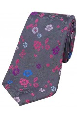Grey With Multi Coloured Flowers Silk Tie