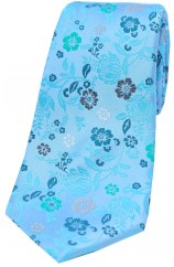 Light Blue Multi Coloured Flowers Silk Tie