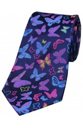 Multicoloured Butterflies on Navy Ground Luxury Silk Tie