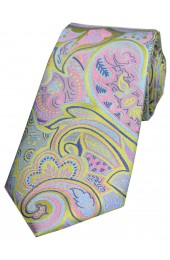 Multicoloured Edwardian Paisley on Lemon Ground Luxury Silk Tie