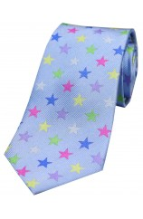 Multicoloured Stars on Sky Blue Ground Luxury Silk Tie