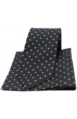 Soprano Black and Grey Polka Dot Silk Tie and Pocket Square