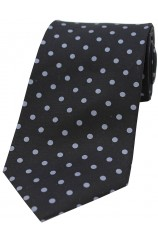 Soprano Black and Grey Polka Dots Mens Printed Silk Tie