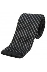 Soprano Black and Grey Striped Thin Knitted Polyester Tie