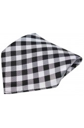 Soprano Black and White Checked Pattern Silk Pocket Square