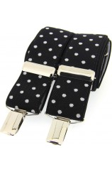 Soprano Black and White Polka Dot 35mm X Style Braces