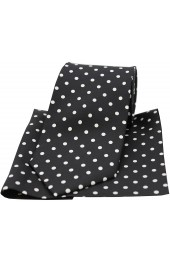 Soprano Black and White Polka Dot Matching Silk Tie and Pocket Square