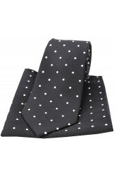 Soprano Black and White Polka Dot Silk Tie and Pocket Square