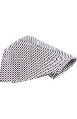 Soprano Black and White Small Checks Mens Silk Pocket Square