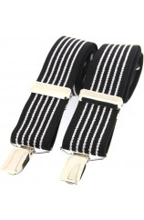 Soprano Black and White Striped 35mm X Style Braces