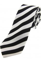 Soprano Black and White Striped Thin Silk Tie