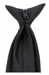 Soprano Black Polyester Clip-On Tie, Perfect For Security companies Or Funerals
