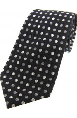 Soprano Black Grey White Spotted Silk Tie