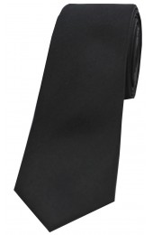 Soprano Black Satin Silk Thin Tie