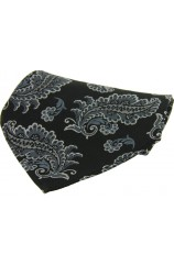Soprano Black With Large Paisley Design Silk Pocket Square