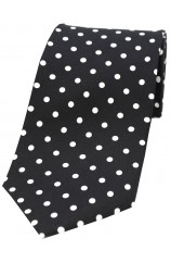 Soprano Black with White Polka Dots Mens Printed Silk Tie