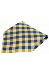 Soprano Blue and Gold Checked Pattern Silk Pocket Square