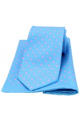 Soprano Blue and Pink Polka Dot Matching Silk Tie and Pocket Square
