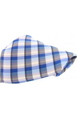 Soprano Blue Check Mens Silk Pocket Square