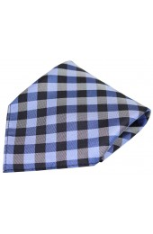 Soprano Blue Checked Pattern Silk Pocket Square