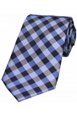 Soprano Blue Checked Pattern Silk Tie