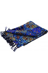 Soprano Blue Edwardian Inspired Orchard Theme Silk Aviator Scarf