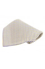 Soprano Blue Gold Yellow Small Checks Silk Pocket Square