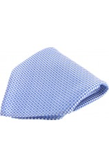 Soprano Blue Small Checks Mens Silk Pocket Square