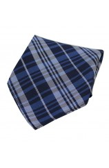 Soprano Blue Tartan Pattern Silk Pocket Square