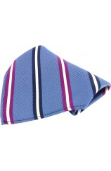 Soprano Blue With Multi Coloured Striped Silk Pocket Square