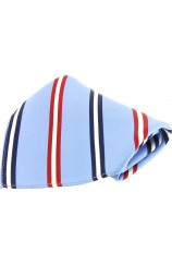 Soprano Blue With Navy and Red Striped Silk Pocket Square