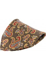 Soprano Brown Ground Large Paisley Design Silk Pocket Square