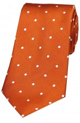 Soprano Burnt Orange and White Polka Dot Silk Tie