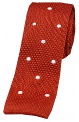 Soprano Burnt Orange and White Polka Dot Thin Knitted Polyester Tie