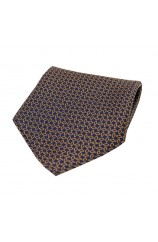 Soprano Burnt Orange Diamond Link Pattern on Navy Ground Silk Pocket Square
