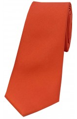 Soprano Burnt Orange Satin Silk Thin Tie