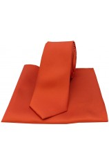 Soprano Burnt Orange Satin Silk Thin Tie and Pocket Square