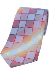 Soprano Burnt Orange Wine and Blue Squares Jacquard Woven Silk Tie