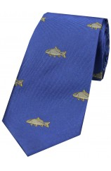 Soprano Carp On Royal Blue Ground Country Silk Tie
