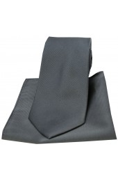 Soprano Charcoal Diagonal Twill Woven Silk Tie and Pocket Square