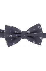 Soprano Charcoal Tear Drop Feather Paisley Woven Silk Bow Tie