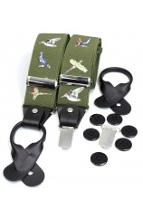 Soprano Country Birds Green 35mm Leather End Braces