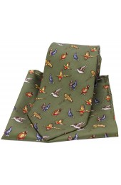 Soprano Country Birds On Country Green Ground Country Silk Tie and Pocket Square