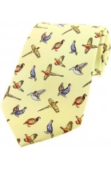 Soprano Country Birds On Pastel Yellow Ground Country Silk Tie