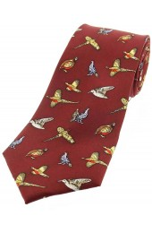 Soprano Childrens Country Birds On Wine Ground Silk Tie
