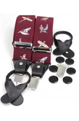 Soprano Country Birds Wine 35mm Leather End Braces